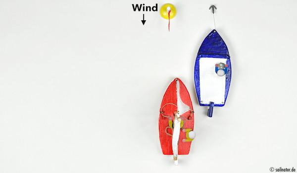 Die Pinne so lange mittschiffs halten bis das Motorboot passiert ist!