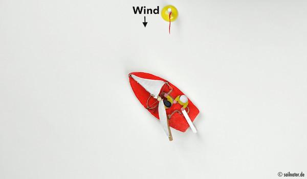 … mit der Restfahrt den Bug durch den Wind drehen. Die Fock bleibt dabei back auf der Seite wo sie vorher war stehen.